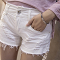 The New European and American Style Shorts Women Hole And Tassel Denim Shorts White Plus Size Low Waist casual jeans Shorts