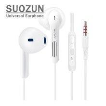 SUOZUN 3.5mm Jack Fone de Ouvido Baixo Para iPhone 5 6 6 s 5S Fone de Ouvido Com Microfone fone de Ouvido Branco Para apple Xiaomi SAMAUNG sony