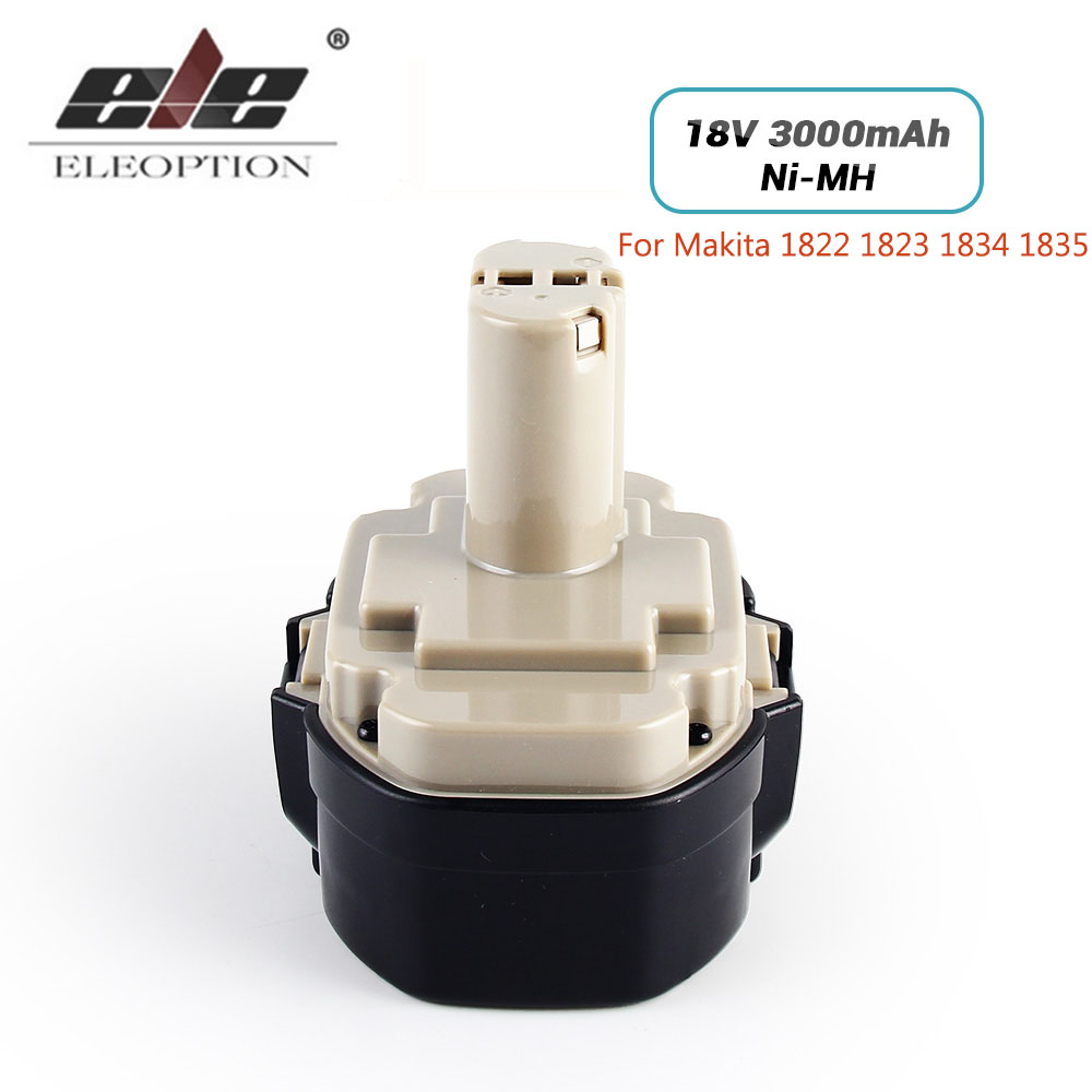 ELEOPTION 18V 3000mAh Ni-MH Replacement Battery for Makita 1822 1823 1834 1835 192827-3 192829-9 193159-1 193140-2 193102-0 eleoption high quality 12v 3000mah ni mh battery for makita 1234 1235 1235f 193138 9 192698 a