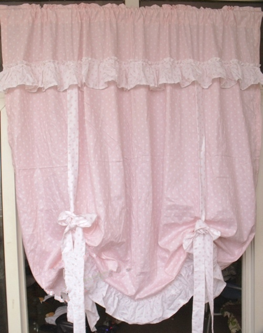 Light pink curtains - Korean Style Princess Light Pink Splice White Lace Balloon Curtain Home Decorative Multi Function Curtain Door Curtain
