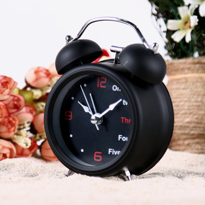 Retro Digital Alarm Clock Dial Number Round Double Bell Needle Clock Table Clock for Kids Room Home Decoration