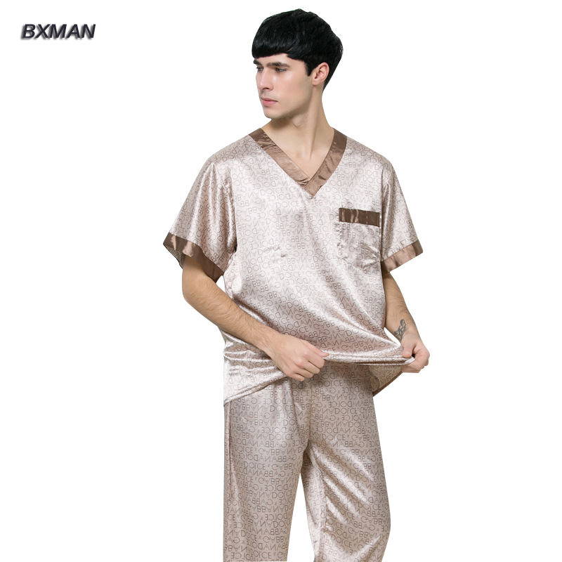 BXMAN Brand Men s Casual Pijamas Hombre Men s Satin Pajamas Rayon Geometric V Neck Men