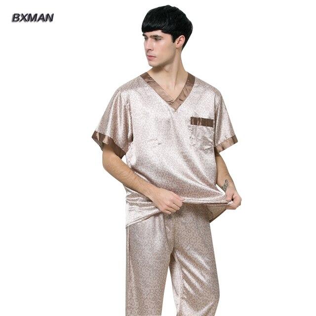 BXMAN Brand Men's Casual Pijamas Hombre Men's Satin Pajamas Rayon Geometric V-Neck Men Silk Pajamas 87