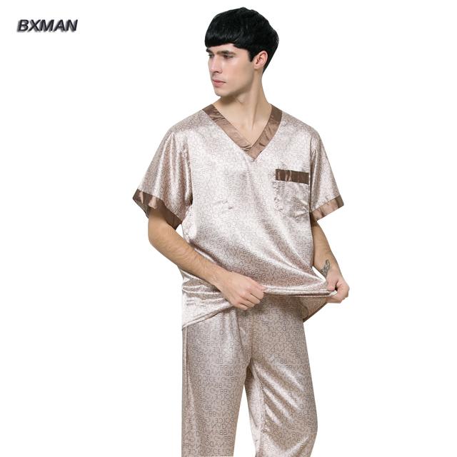 BXMAN Marca dos homens Pijamas Pijama De Cetim Rayon Geométrica Dos Homens Hombre Casuais Com Decote Em V Pijamas De Seda Homens 87
