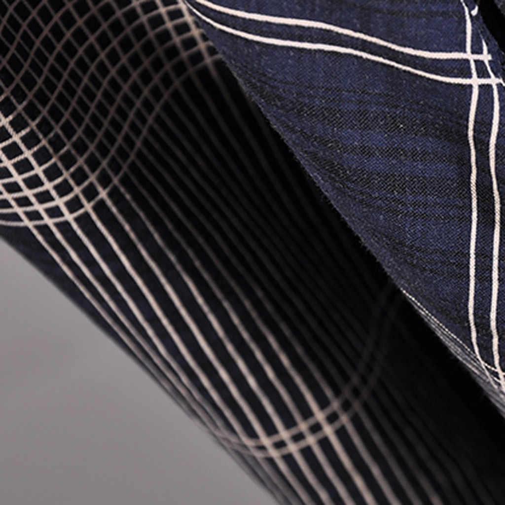 2019 модные и Повседневное Для женщин Винтаж ретро короткий рукав плед печати вечерние платье для выпускного вечера свободное платье Лидер продаж
