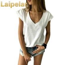 Laipelar 2018 Summer T Shirt Women Short Sleeve V Neck Loose TShirt Casual Sexy Camisetas Feminina Lady Tops