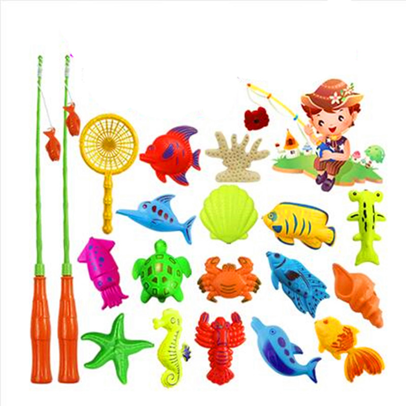 Children's fishing toy magnetic fish suit baby shower play water children's puzzle game cat diaoyuchi toys LMY001