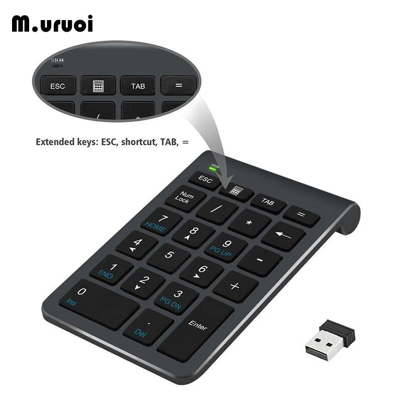 M.uruoi 2.4G Wireless Digital Keyboard 22 Keys Mini Numeric Keypad Portable USB Number Pad  For Laptop PC Notebook Desktop Black