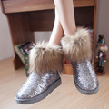 SexeMara Brand 2016 Sequined Winter Boots Fur Women Snow Boots Warm Plush Ankle Boots Glitter Blue Botas Mujer Zapatos Mujer