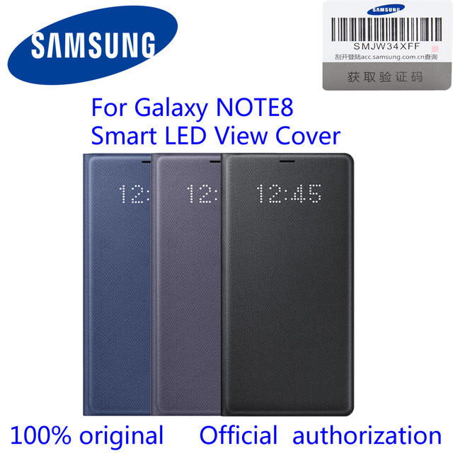 check out c0c6d cc584 US $37.98 |100% Original Official For Samsung Galaxy Note8 LED View Wallet  Case N950F EF NN950P n8 led view cover -in Flip Cases from Cellphones & ...