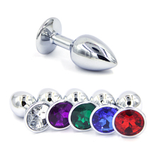 1 pcs Small Size Metal Crystal Anal Plug Stainless Steel Booty Beads Jewelled An