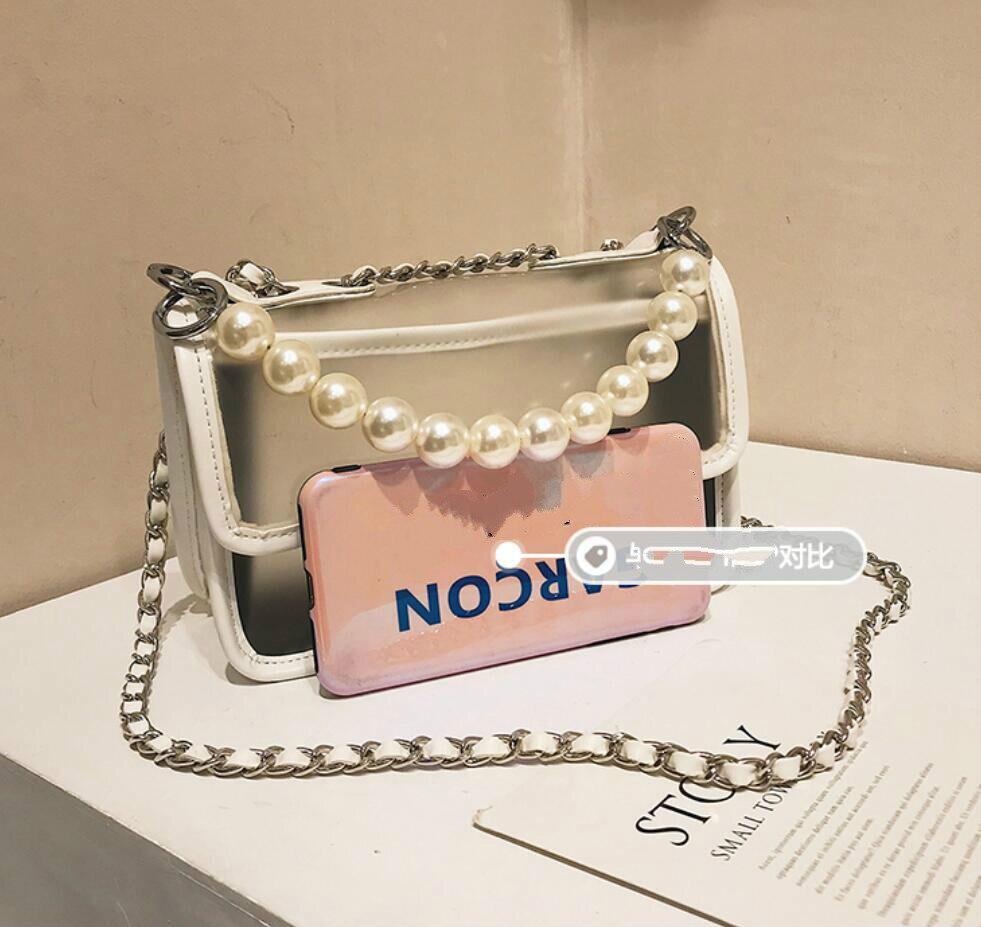 Sweet Girl Transparent Jelly bag 2019 Fashion New Quality PU Leather Women's Designer Handbag Lock Chain Shoulder Messenger bags 5