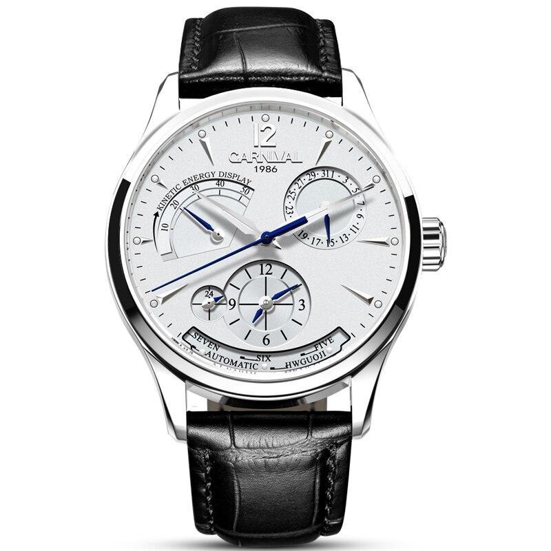 Original CARNIVAL Fashion Men Watch Top brand Multifunction Automatic Watch Men Calendar Relojes mecánicos luminosos a prueba de agua