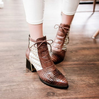 WETKISS Fashion Ankle Boot Snake Print Cross tie Hoof High Heels Short Boots Pointed toe Spring Boots Shoes Spring Woman Shoe 8