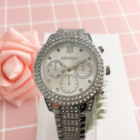 CONTENA Top Brand Woman Watches Fashion Ladies Crystal Clock White Ceramics Gold Luxury Women Top Quality