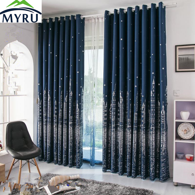Myru Mediterranean Navy Blue Curtains Rural Silver And