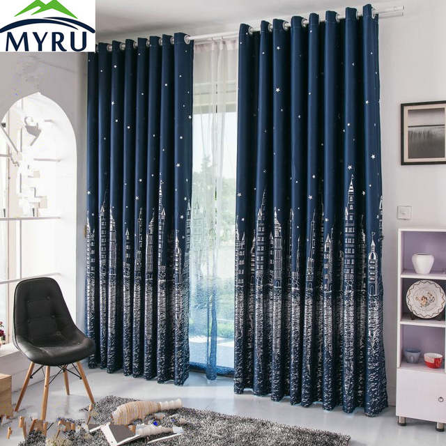 US $15.19 5% OFF|MYRU Mediterranean navy blue curtains rural silver and  gold castle printed blackout curtians for living room-in Curtains from Home  & ...