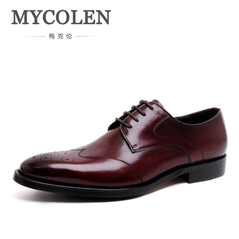 MYCOLEN Luxury Genuine Leather Lace Up Men Dress Shoes Formal Party Office Brown Black Derby Man Shoe Rubber Zapatos De Hombres недорого