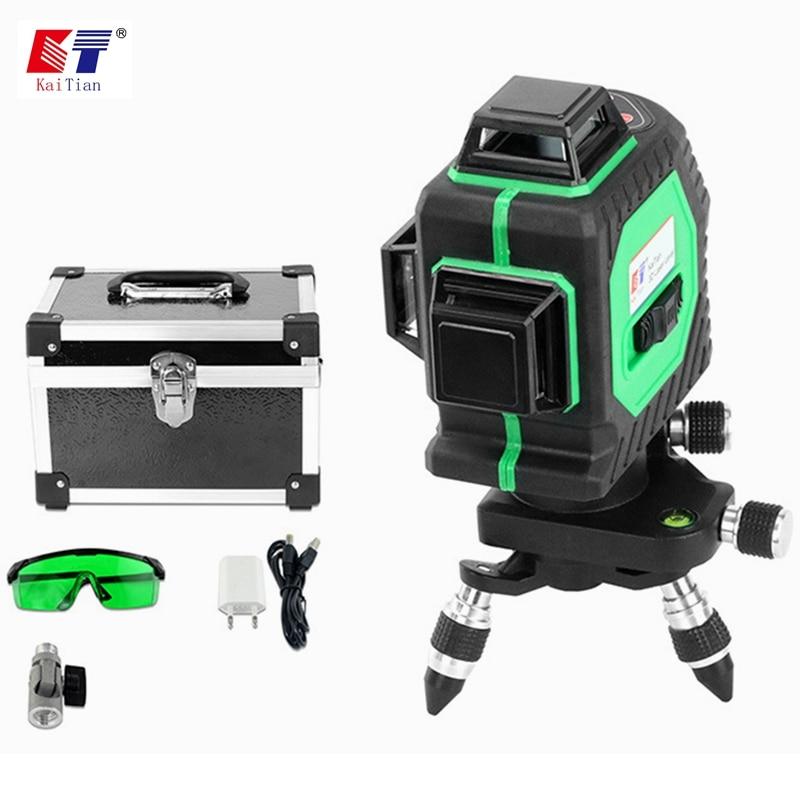 купить KaiTian 3D 12Lines Laser Level Self Leveling 360 Rotary Horizontal 532nm Vertical Cross Green Livello Laser Beam Line Level Tool по цене 10822.33 рублей