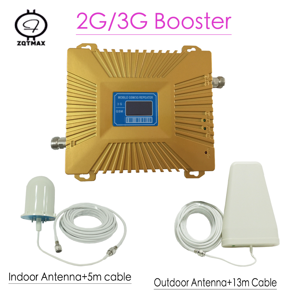 LCD Display GSM 900 W-CDMA 2100mhz Dual Band Signal Repeater 2G 3G UMTS 70dB Cellphone Cellular Signal Booster Amplifier Set