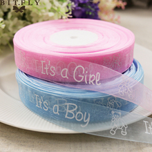 BIT.FLY 15mm 5yard It's A Boy/Girl Organza Ribbon Cute Pink/blue Hyaline Chiffon Bear Packing Tap Baby Shower DIY decoration