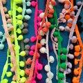 50 Ярдов/серия Многоцветный помпон ленты отделка кружевом 20 мм Fringe пом англичане Эластичный кружевной отделкой Одежда аксессуары Декоративные Ткани лента