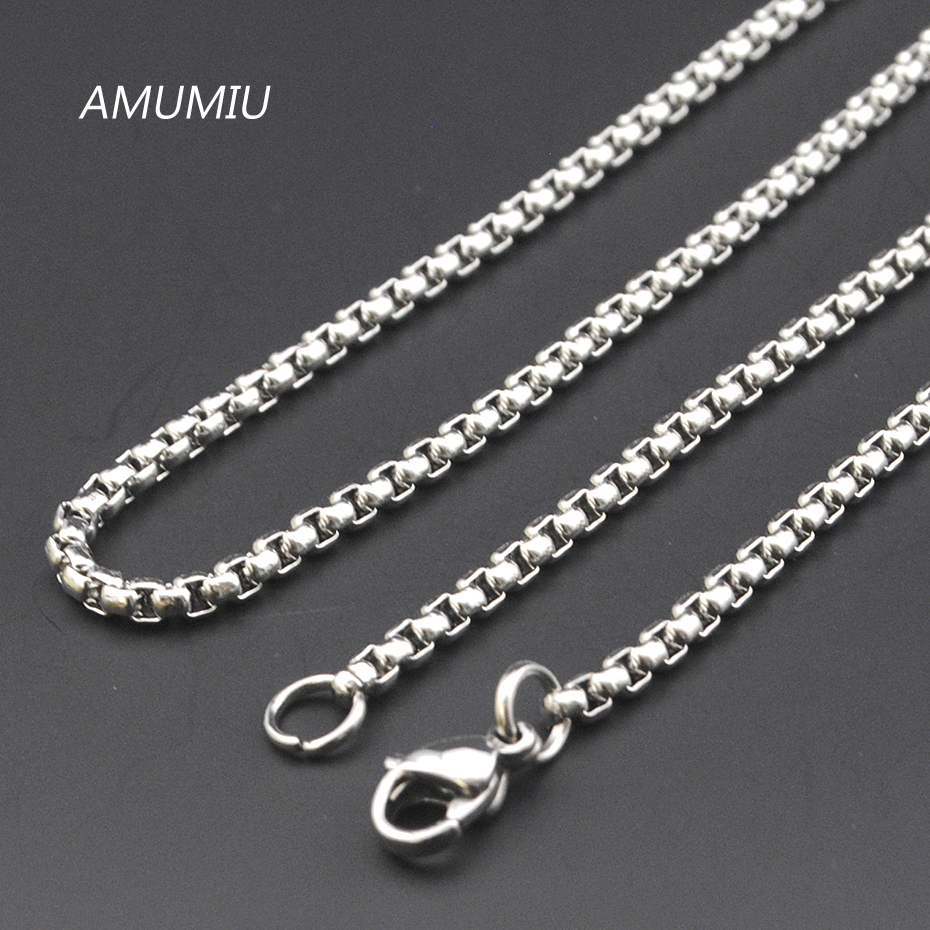 AMUMIU Promotion 40 45 50 55 60 65 70cm 3mm Width 316L Stainless Steel For Women