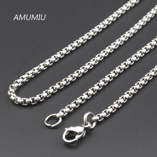 AMUMIU Promotion !  40/45/50/55/60/65/70cm,3mm Width 316L Stainless Steel For Women Men Fashion Chains Necklace KN002