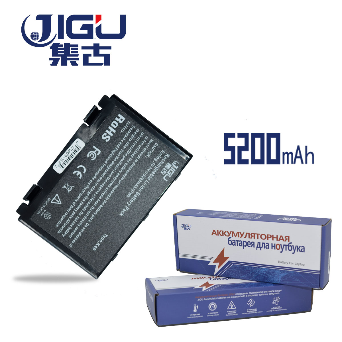 JIGU K50in  6 Cell Battery Pack For Asus K40 / F82 / A32 / F52 / K50 / K60 L0690L6 A32-F82 K40in K40af K50ijJIGU K50in  6 Cell Battery Pack For Asus K40 / F82 / A32 / F52 / K50 / K60 L0690L6 A32-F82 K40in K40af K50ij