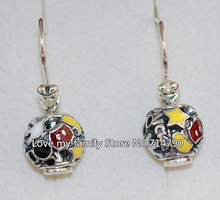DIY Charm Jewelry Earrings 925 Sterling Silver Mickey Mania Dangles Earrings with Enamel