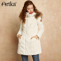 Artka White Duck Down Coat Women Long Parka With Fur Warm Jacket Coat Female Hooded Outerwear