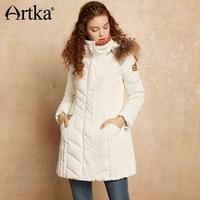 Artka White Duck Down Coat Women Long Parka With Fur Warm Jacket Coat Female Hooded Outerwear