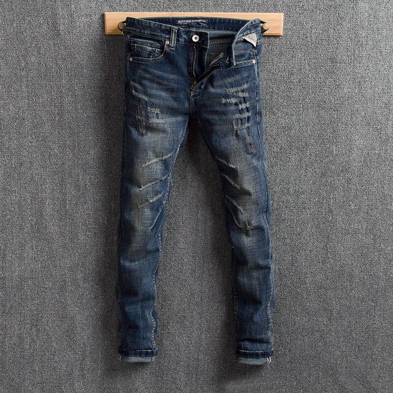 Fashion Streetwear Men Jeans Dark Blue Slim Fit Retro Ripped Jeans Men Denim Distressed Pants Vintage Designer Hip Hop Jeans