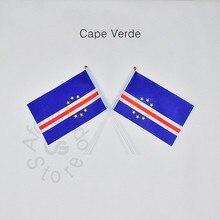 Cabo verde 14*21cm bandeira frete grátis reunião desfile festa mão acenando bandeira nacional decoração para casa bandeira bandeira