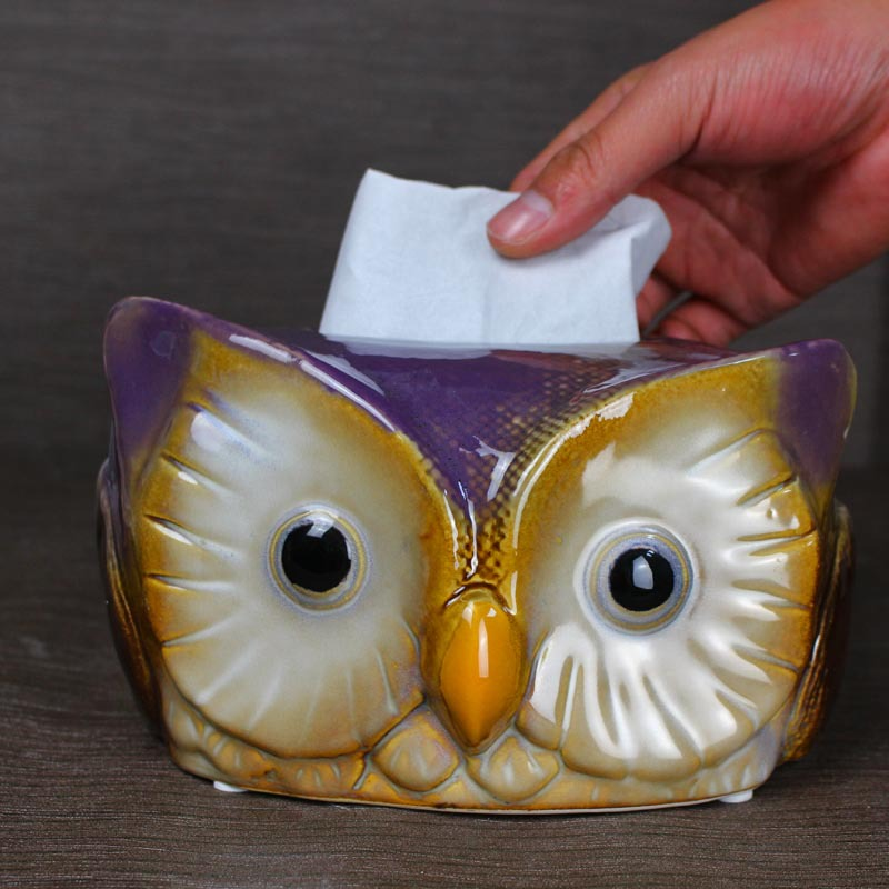 Céramique artisanat hibou papier pompage Restaurant salon chambre décorations pour la maison Style nordique boîte à mouchoirs boîte de rangement