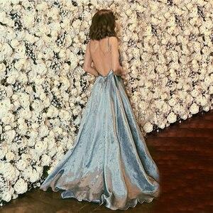 Image 3 - 패션 긴 이브닝 가운 2020 섹시한 이브닝 드레스 브이 넥 새틴 백 레스 a 라인 바닥 길이 슬릿 슬림 공식 파티 드레스 파티