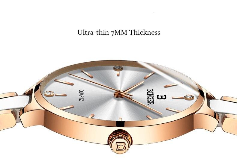 BINGER Mode Luxus Damen Uhr Stahl und keramik band Quarz Frauen Uhren Top Marke Wasserdichte Uhr Relogio Feminino - 4
