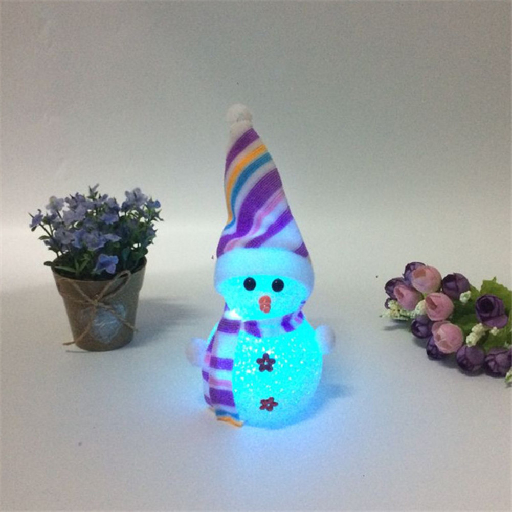 1Pc Colorful Christmas Tree Hanging Ornament Luminous Snowman Doll For Home Christmas Decoration Supplies Kids New Year Gifts in Pendant Drop Ornaments from Home Garden