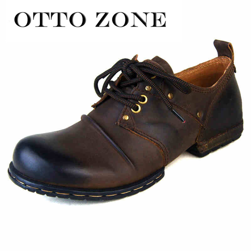 OTTO ZONE Handmade Genuine Cow Leather Ankle Boots Fashion Men Shoes Boots Rivet Flat Shoes Casual