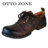 Отто зоны ручной работы из натуральной Ботильоны из телячьей кожи Модные Для мужчин ботинки martin заклепки плоские туфли Повседневное обувь
