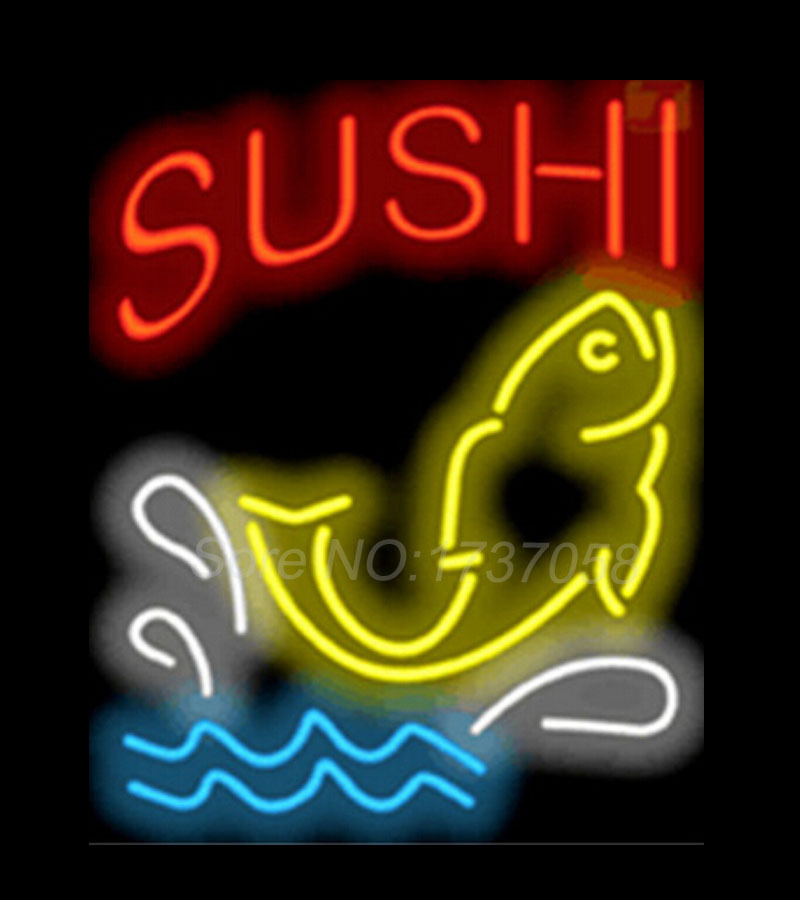 Sushi with fish diet signboard shop neon sign commercial for Fish neon sign