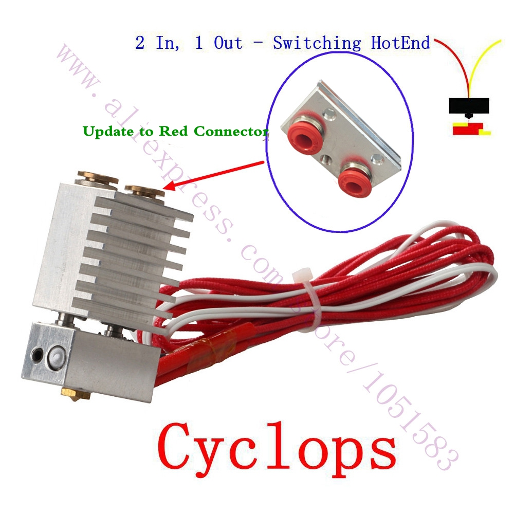 The Cyclops 2 In 1 Out Switching Hotend Multi-color Hotend Set - Multi-extrusion Kit Bowden Extruder, 0.4mm, 1.75mm cyclops 2 in 1 out switching hotend multi extrusion color 3d extruder 0 5mm nozzle for 1 75mm filament