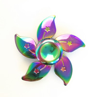 2017 New Metal Zinc Alloy Fidget Spinner Colorful Flower Pattern Fashion Hand Spinner ADHD Toys Gift