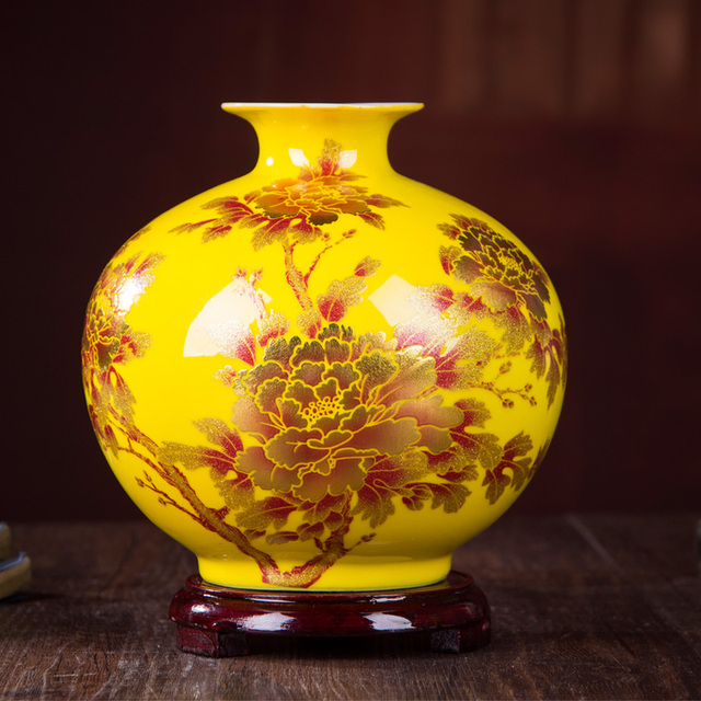 New Chinese Style Vase Jingdezhen Yellow Crystal Glaze Flower Vase Home Decor Handmade Shining Famille Rose Vases 2