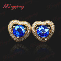 18 K Gold Inlaid Natural Sri Lanka Sapphire Studs Earrings Female 1 Carat Royal Blue Diamond