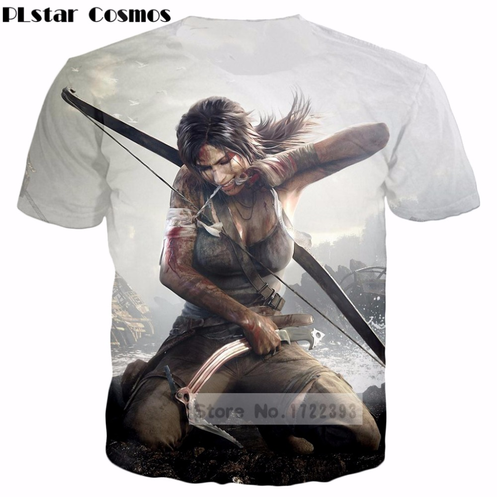 PLstar Cosmos Design clothes 2018 summer Men/Women 3D t shirts Classic Game Tomb Raider arrow printed casual T-Shirt tops tshirt