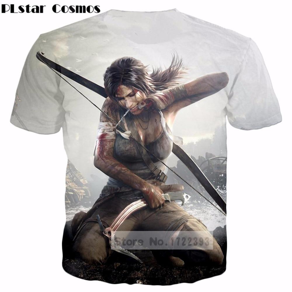 PLstar Cosmos Design clothes 2018 summer Men/Women 3D t shirts Classic Game Tomb Raider arrow printed casual T-Shirt tops tshirt