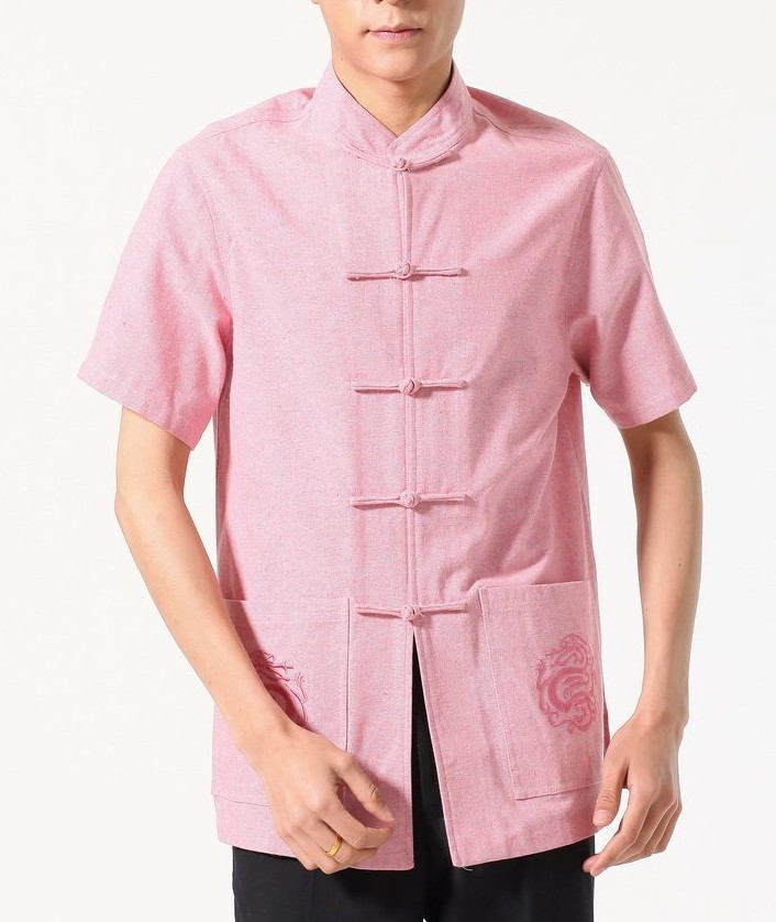 2017 NEW Pink Summer Chinese tradition Men's KungFu shirt top Short Sleeves Size S M L XL XXL XXXL
