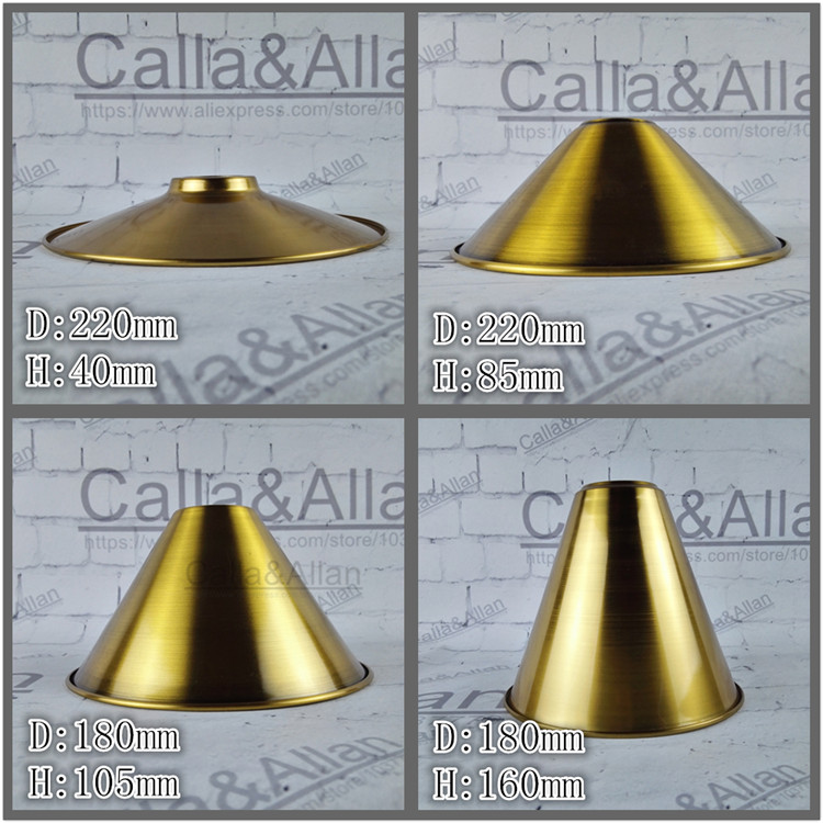 Antique brass finish iron lampshade 4 style edison pendant lamp shade DIY gold bronze lighting shade cone design your own light d200mm brass cone shade quality e14 pendant light edison led vintage copper shade lighting fixture brass pendant lamp for home