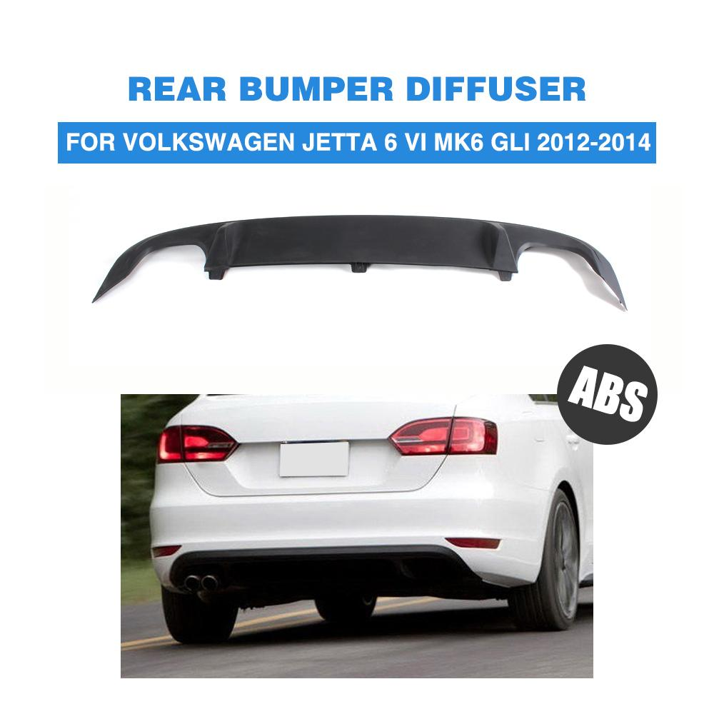 Abs negro mate auto car rear bumper lip difusor para vw jetta gli 2012 2014